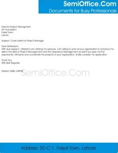 Project Manager Cover Letter Sample Letters